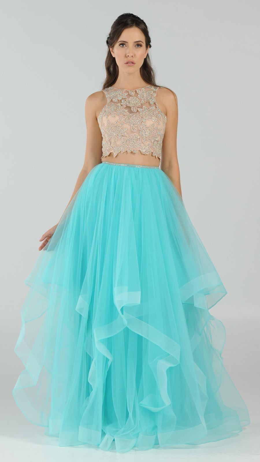 Poly USA 8176 Two-Piece Prom Gown Appliqued Crop Top Tiered Skirt ...