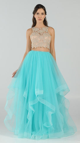 Two-Piece Prom Gown Appliqued Crop Top Tiered Skirt Mint Green