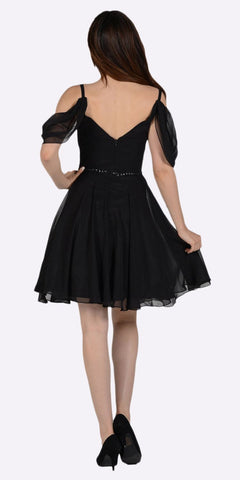 Black Cold Shoulder Homecoming Short Dress V-Neck