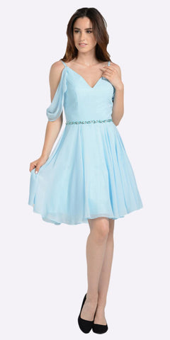 Blue Cold Shoulder Homecoming Short Dress V-Neck