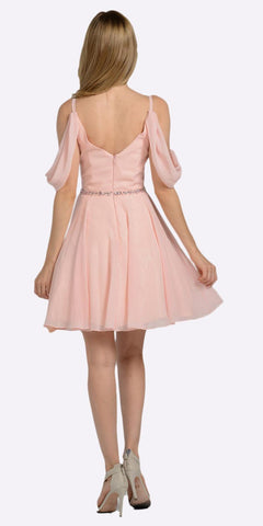 Blush Cold Shoulder Homecoming Short Dress V-Neck