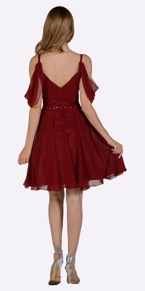 Burgundy Cold Shoulder Homecoming Short Dress V-Neck