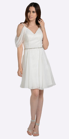 Off White Cold Shoulder Homecoming Short Dress V-Neck