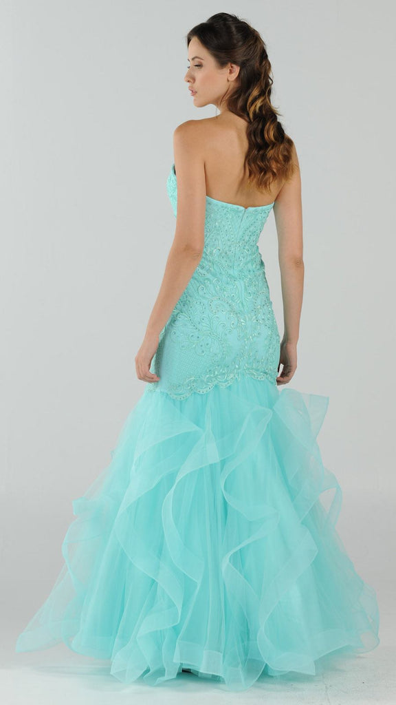 Strapless Tiered Mermaid Long Prom Dress Embroidered Aqua