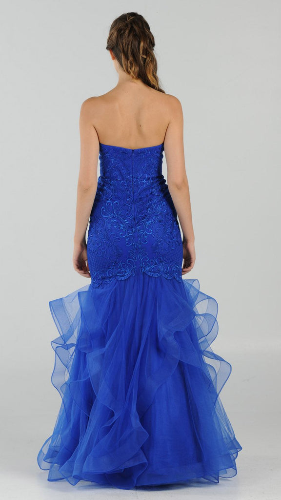 Strapless Tiered Mermaid Long Prom Dress Embroidered Royal Blue