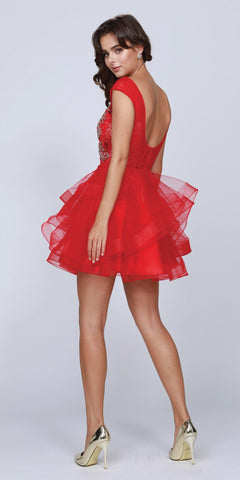 Red Cap Sleeved Short Homecoming Dress Tiered Skirt