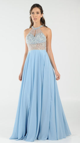 Halter Sheer Beaded Bodice Keyhole Neckline Long Prom Dress Ice Blue
