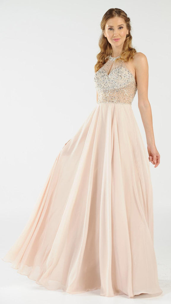 Halter Sheer Beaded Bodice Keyhole Neckline Long Prom Dress Champagne