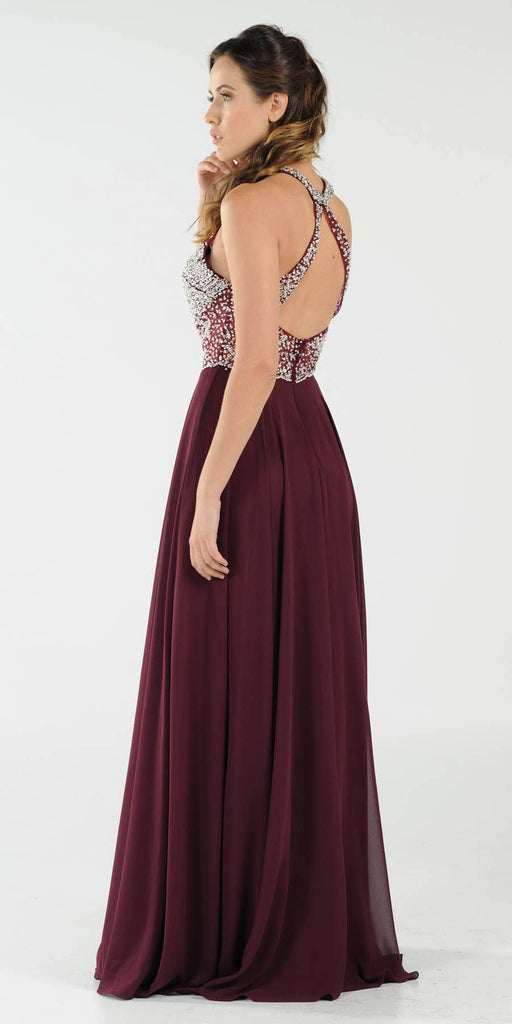Poly USA 8202 Halter Sheer Beaded Bodice Keyhole Neckline Long Prom Dress Plum