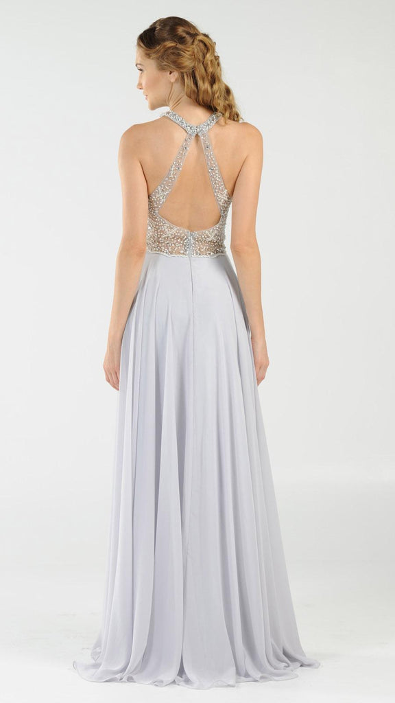 Halter Sheer Beaded Bodice Keyhole Neckline Long Prom Dress Silver