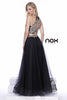Black Embellished Halter Two-Piece Prom Dress Long