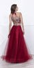Burgundy Embellished Halter Two-Piece Prom Dress Long