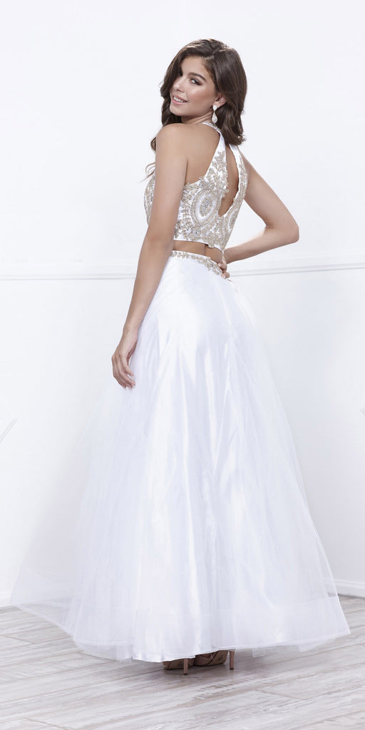 Off White Embellished Halter Two-Piece Prom Dress Long