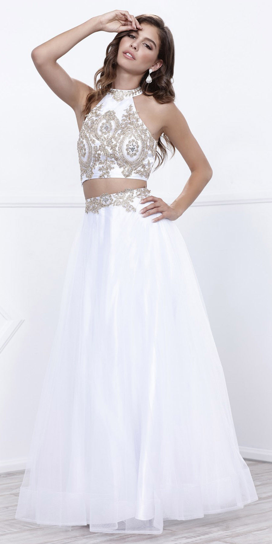 Off White Embellished Halter Two-Piece Prom Dress Long ...