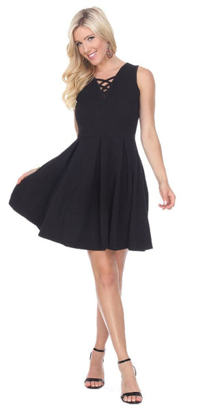 Shay Fit/Flair Skater Dress Black Short Criss-Cross Neckline