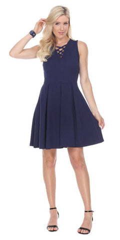 Shay Fit/Flair Skater Dress Navy Blue Short Criss-Cross Neckline