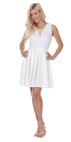 Shay Fit/Flair Skater Dress White Short Criss-Cross Neckline