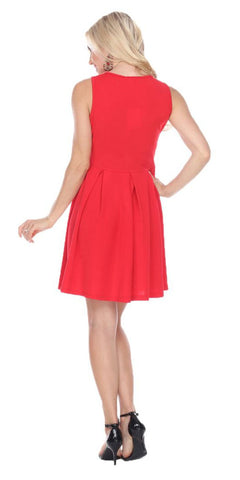 Shay Fit/Flair Skater Dress Red Short Criss-Cross Neckline