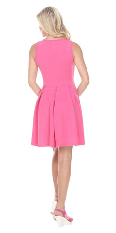 Shay Fit/Flair Skater Dress Fuchsia Short Criss-Cross Neckline