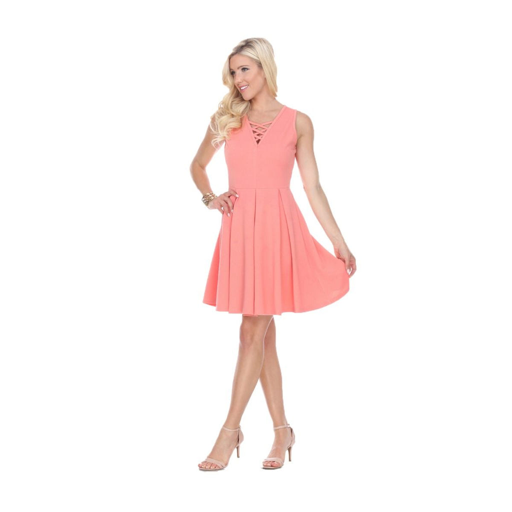 Shay Fit/Flair Skater Dress Coral Short Criss-Cross Neckline
