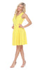 Shay Fit/Flair Skater Dress Yellow Short Criss-Cross Neckline