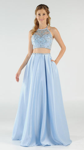 Blue Two-Piece Long Prom Dress Satin Skirt with Pockets