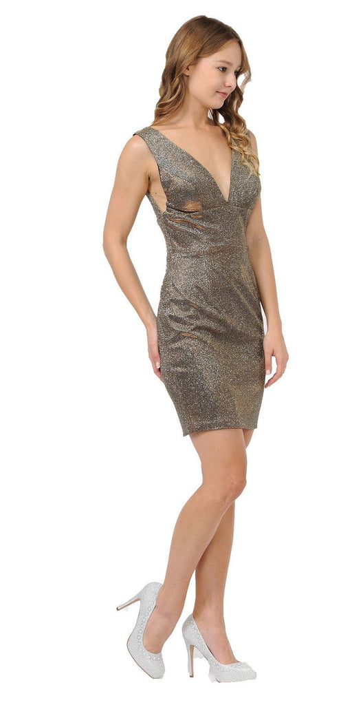 Gold Metallic Short Party Dress with V-Neck and Back