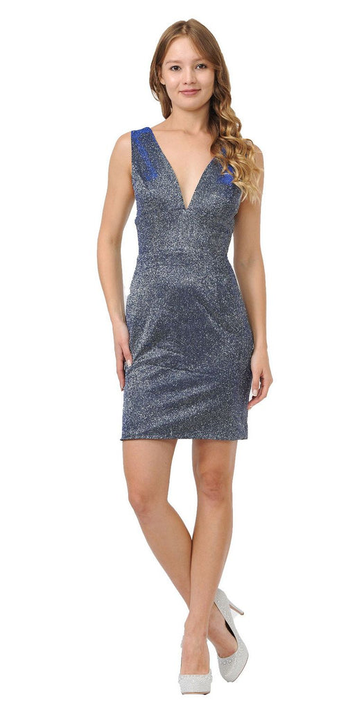 Royal Blue Metallic Short Party Dress with V-Neck and Back