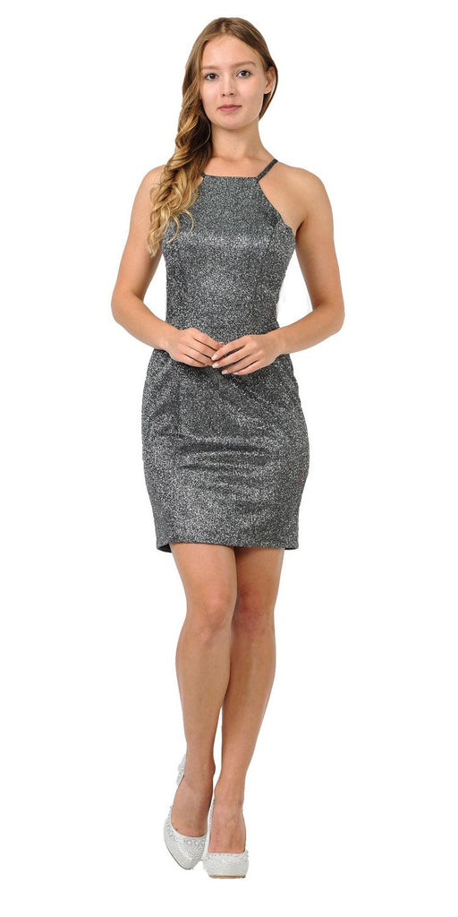 Black/Silver Halter Sexy Short Party Dress with Cut-Out Back