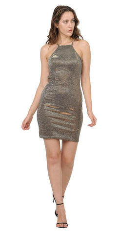 Gold Halter Sexy Short Party Dress with Cut-Out Back