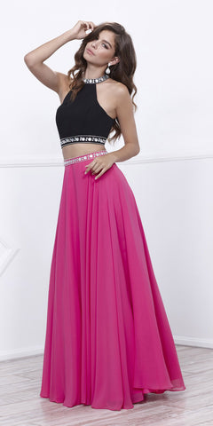 Chiffon Black and Fuchsia Beaded Two-Piece Halter Prom Dress