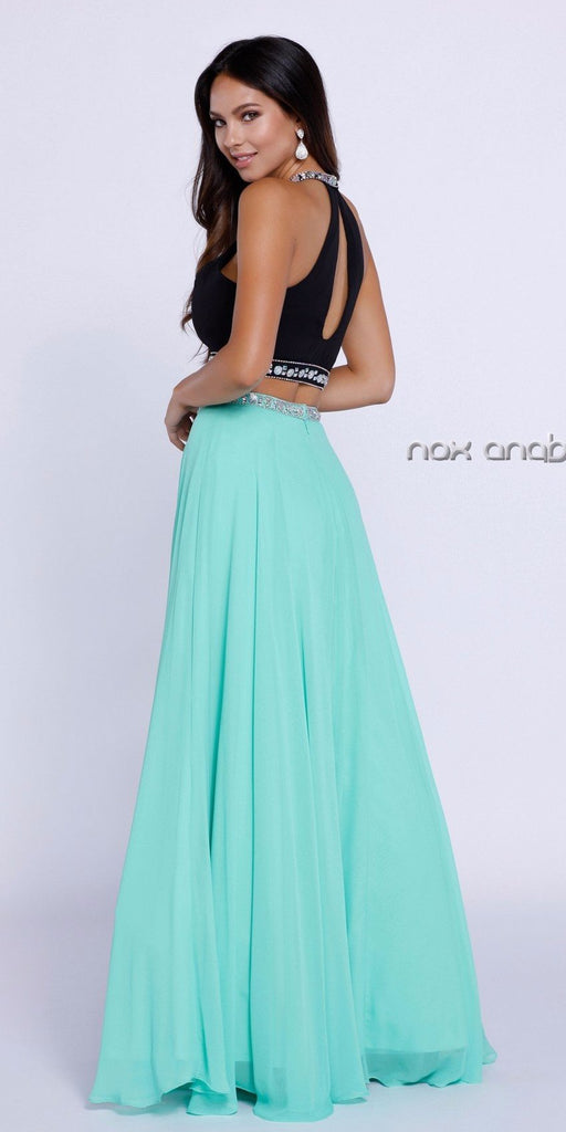 Chiffon Black and Mint Beaded Two-Piece Halter Prom Dress