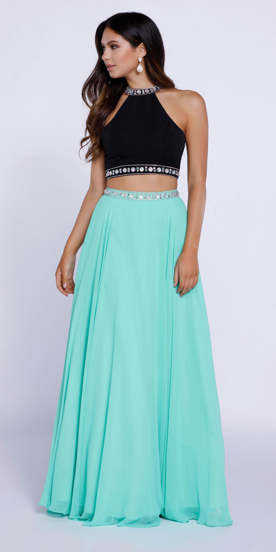 Mint and Black Homecoming Dresses