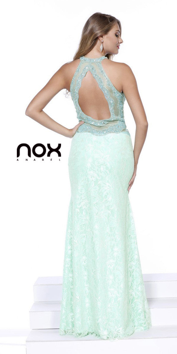 Lace Halter Fit and Flare Embellished Prom Gown Mint Green