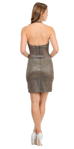 Halter V-Neck Short Cocktail Dress Open Back Gold