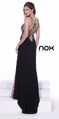 Sheer Beaded Top Black Prom Dress with Side Slit and Train