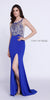 Sheer Beaded Top Royal Blue Prom Dress with Side Slit and Train