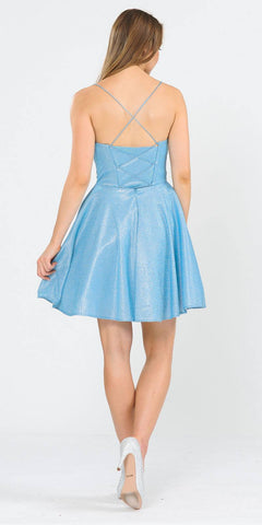 Baby Blue Shimmering Homecoming Short Dress with Pockets