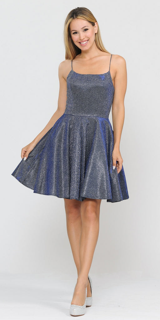 Poly USA 8220 Royal Blue Shimmering Homecoming Short Dress with Pockets