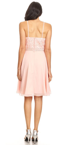 Halter Short Fit and Flare Homecoming Dress Dusty Pink