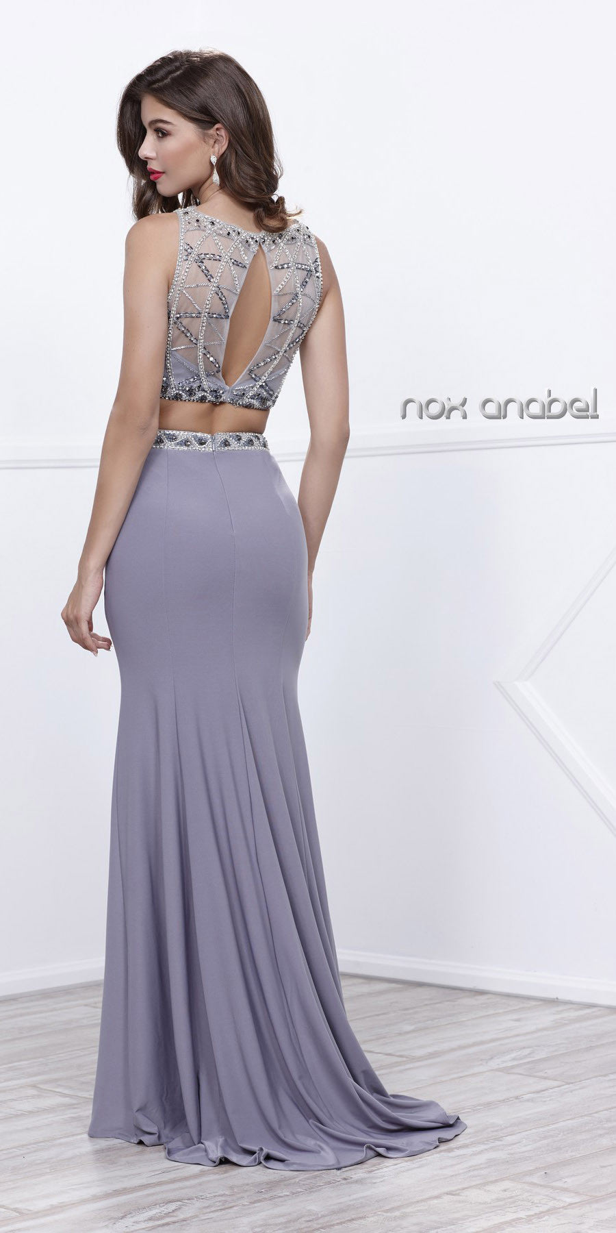 Gray Two-Piece Fit and Flare Embellished Illusion Top Prom Gown