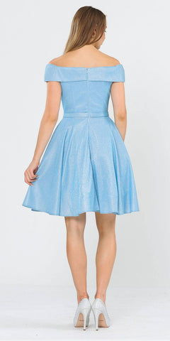 Off-Shoulder Baby Blue Homecoming Short Dress with Pockets