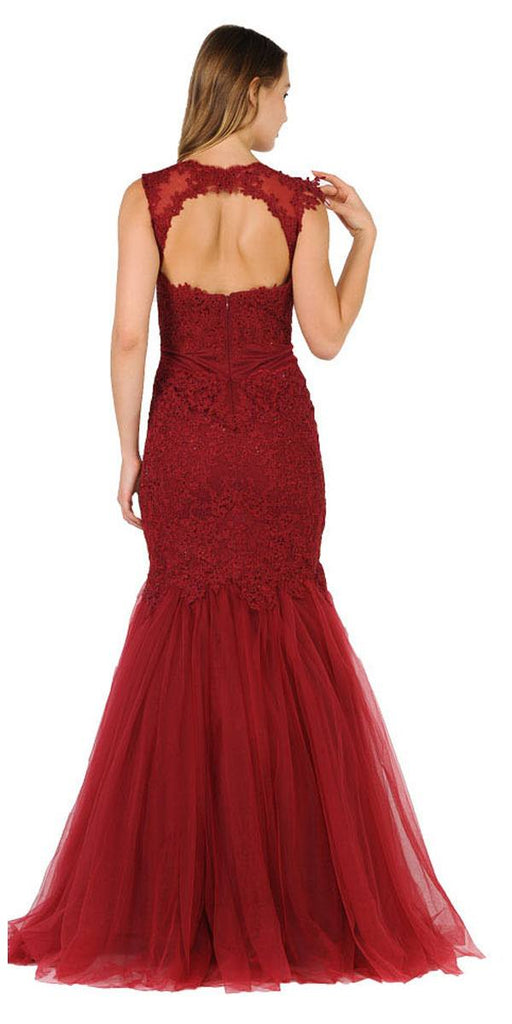 Poly USA 8226 Burgundy Appliqued Mermaid Long Formal Dress Cut-Out Back Back View