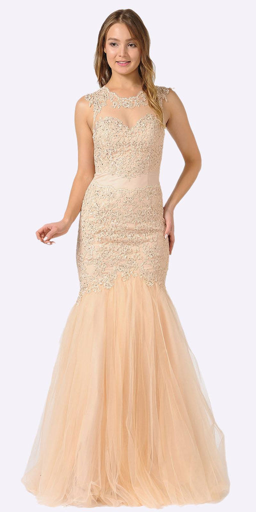 Poly USA 8226 Champagne Appliqued Mermaid Long Formal Dress Cut-Out Back