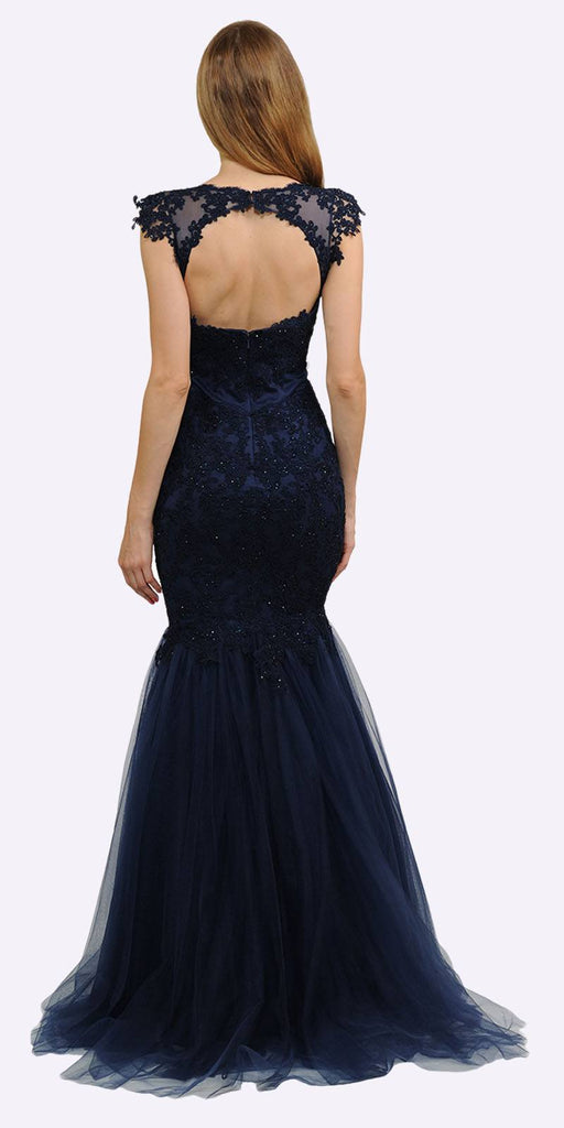 Poly USA 8226 Navy Blue Appliqued Mermaid Long Formal Dress Cut-Out Back