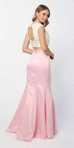 Two Piece Pearl Mermaid Open Back Prom Dress Pink Cap Sleeve