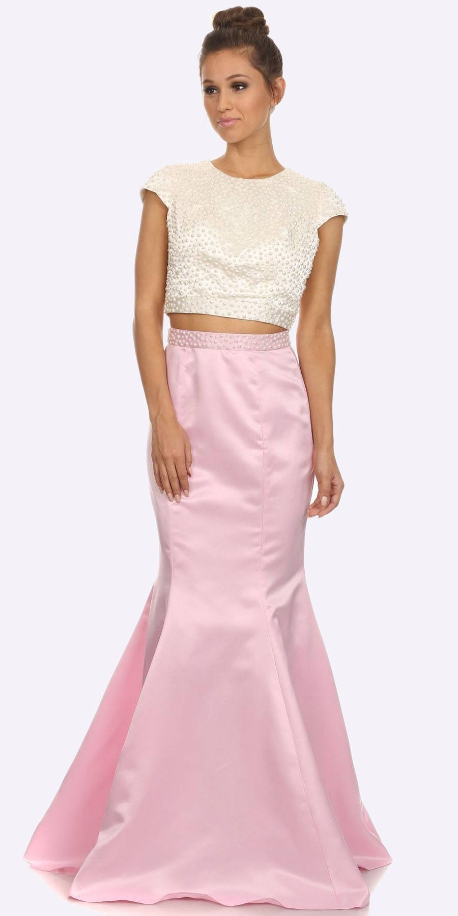 e081fdf7a5bc Two Piece Pearl Mermaid Open Back Prom Dress Pink Cap Sleeve. Tap to expand