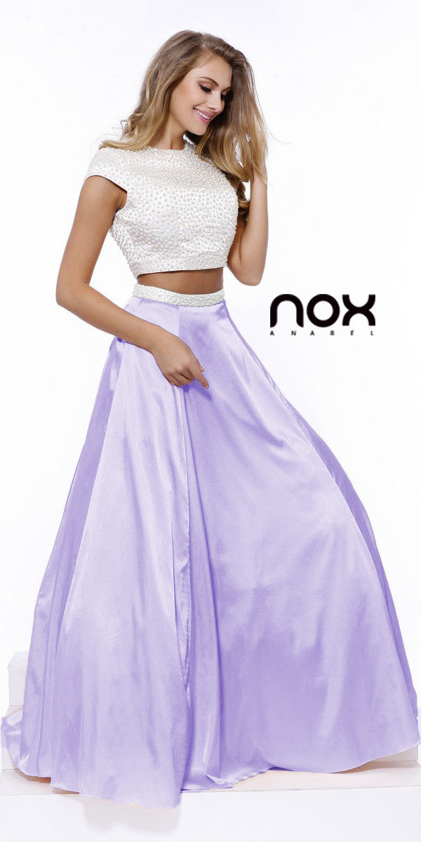 Crop Top Short Sleeves Two-Piece Satin A-Line Prom Gown Lilac