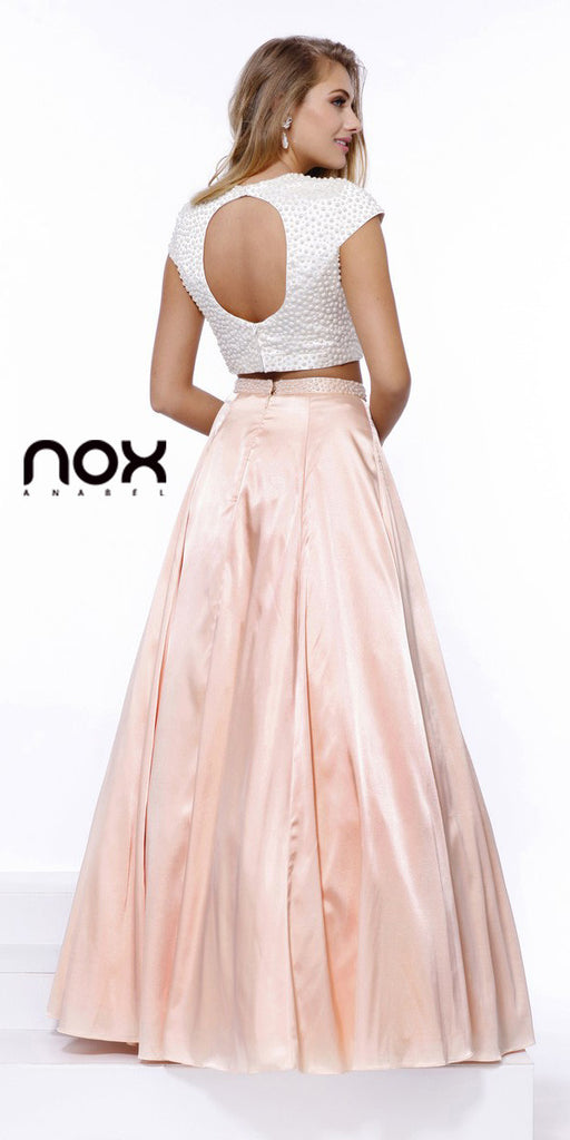 Crop Top Short Sleeves Two-Piece Satin A-Line Prom Gown Nude