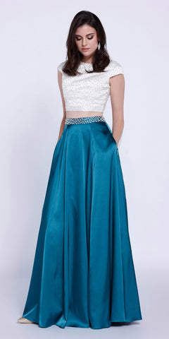 Crop Top Short Sleeves Two-Piece Satin A-Line Prom Gown Teal